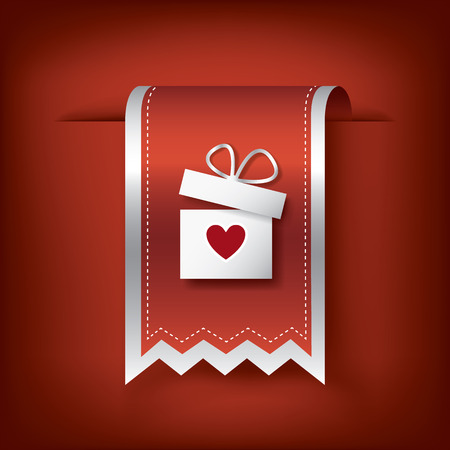 white day: Valentine vertical ribbon or bookmark element for websites and promotion of holiday Illustration