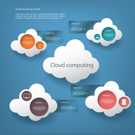 virtualization: Cloud computing concept vector illustration with menu options for infographics, brochures, presentations etc Illustration
