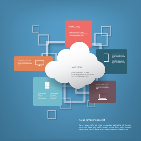 virtualization: Cloud computing concept vector illustration with menu options for infographics, brochures, presentations.