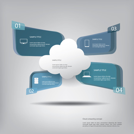 Cloud computing concept vector illustration with menu options for infographics, brochures, presentations Illustration