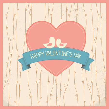 Vintage Valentines day card with soft colors and simple hand drawn image for retro look. Vector