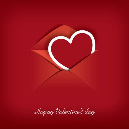 eps10 vector: Valentines day card in an envelope blending into red background suitable for postcards, flyers, messages, etc. Eps10 Vector illustration. Illustration