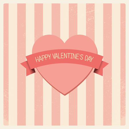 soft colors: Vintage Valentines day card with soft colors and simple hand drawn image for retro look.