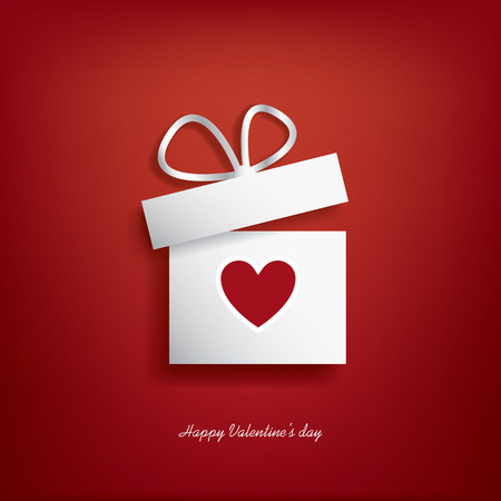 dia: Ilustración del concepto de día de San Valentín con caja de regalo y el corazón símbolo sutiable para la publicidad y promoción.
