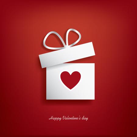 saint valentin coeur: Jour notion illustration de la Saint-Valentin avec boîte-cadeau et le c?ur symbole sutiable pour la publicité et la promotion. Illustration