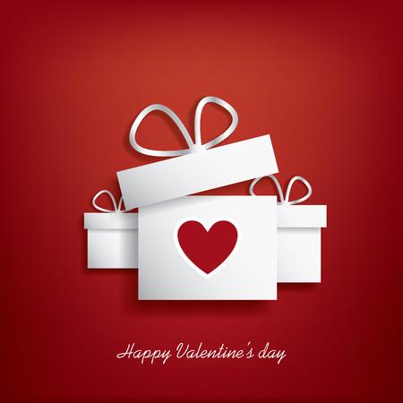 Ilustración del concepto de día de San Valentín con caja de regalo y el corazón símbolo sutiable para la publicidad y promoción. Foto de archivo - 35112020