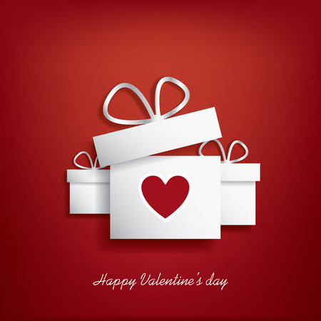 postcard box: Valentines day concept illustration with gift box and heart symbol sutiable for advertising and promotion.