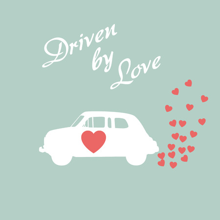 driven: Vintage car driven by love romantic postcard design for Valentine card. Eps10 vector illustration