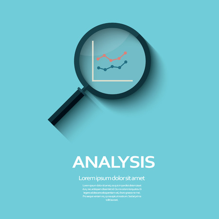 information management: Business Analysis symbol with magnifying glass icon and chart. Eps10 vector illustration.