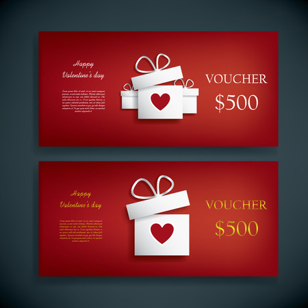 Valentines day gift voucher or coupon with presents and hearts on red background. Illustration