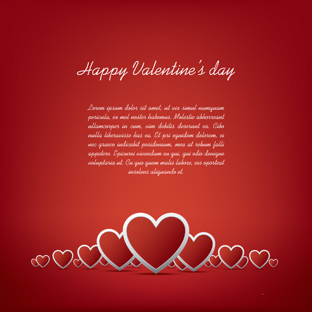 Simple realistic valentines day hearts card design on red background and space for text. Vector