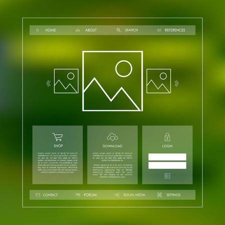 Simple basic website template with icons for navigation in modern cool flat design on gradient mesh background. Vector