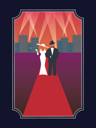 Academy awards hollywood poster with stylish elegant dressed man and woman in simple retro style poster. Vettoriali