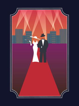 Oscars de Hollywood avec affiches élégant élégante homme vêtu et la femme dans l'affiche de style rétro simple.