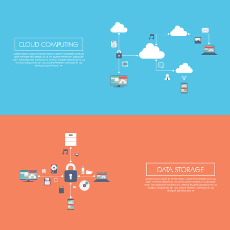 programmes: Cloud computing and data storage infographics vector illustration with digital devices icons. Illustration