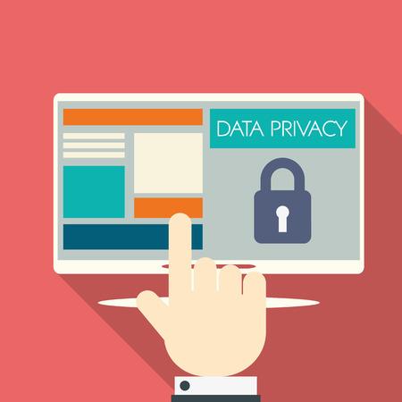 Datenschutz im Cloud-Computing-Technologie mit digitalen Geräten Symbole und Anwendungen für Computer. Vektorgrafik
