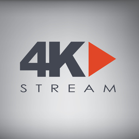 Symbol of Ultra HD streaming or playing video online content for screens and tvs with 4k resolution. Illustration