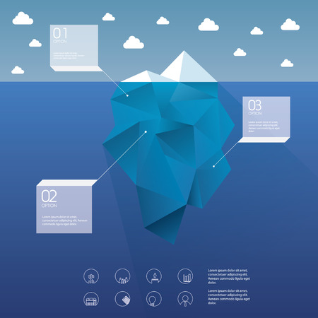 risk analysis: Polygon iceberg concept vector design with infographic menu options as symbol of business risk. Illustration