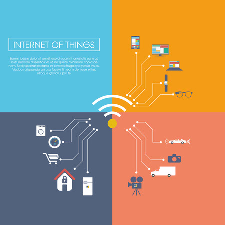 objects: Internet of things concept vector illustration with icons for smart things in household, technology, communication. Illustration