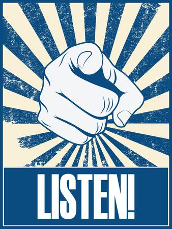 Motieven affiche ontwerp met de hand wijzend op u of de kijker luisteren tekst