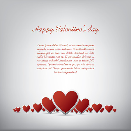 Simple realistic valentines day hearts card design on white background and space for text. Vector