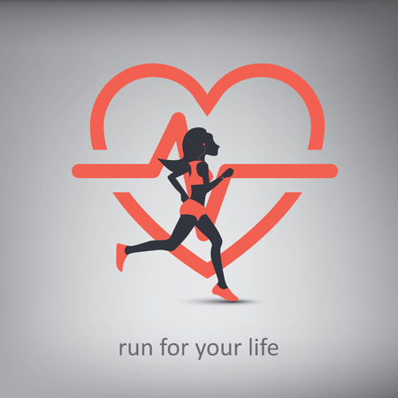 Running or jogging concept illustration with silhouette of a person with healthy lifestyle symbol in background. Cardio exercise  イラスト・ベクター素材