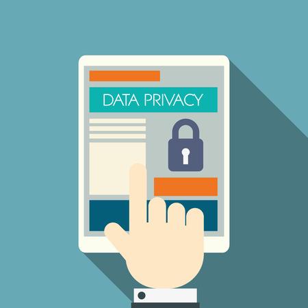 Protección de datos en la tecnología de la computación en nube con iconos de dispositivos y aplicaciones para computadoras digitales.