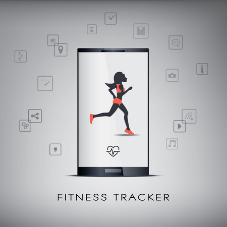 Smartphone icons for monitoring health and fitness with a running or jogging silhouette. Illustration