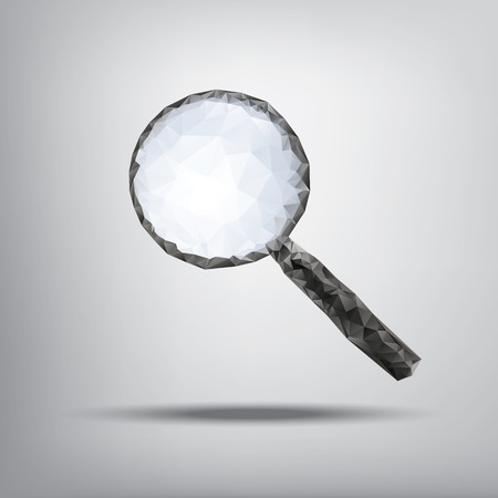low glass: Magnifying glass symbol in modern low polygonal shapes on grey background and 3d shadow.