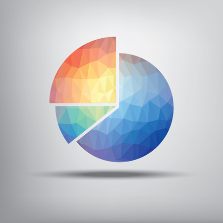 budget: Colorful pie chart symbol in modern low polygonal shape suitable for infographics, business presentations, analysis reports.