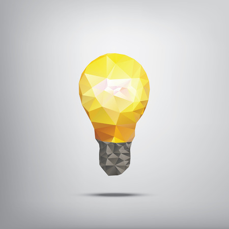 low light: Colorful low polygonal light bulb concept symbol of creativity. Suitable for infographics, business presentations, analysis reports, brochures.