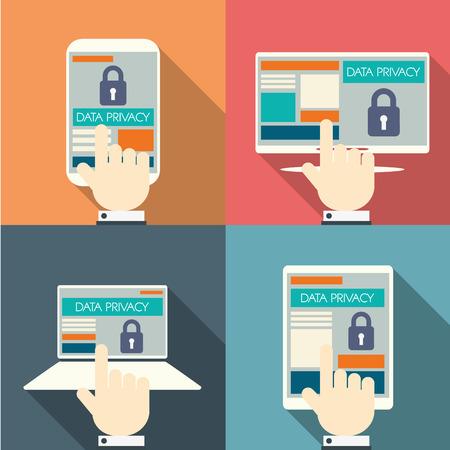 datos personales: Protección de datos en la tecnología de la computación en nube con iconos de dispositivos y aplicaciones para computadoras digitales.