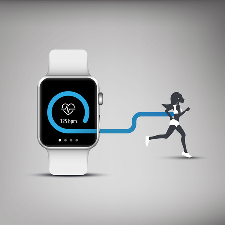 心臓モニターとを実行しているまたは人をジョギングのシルエットのスマートな腕時計のコンセプトのフィットネス トラッカーのアプリケーション