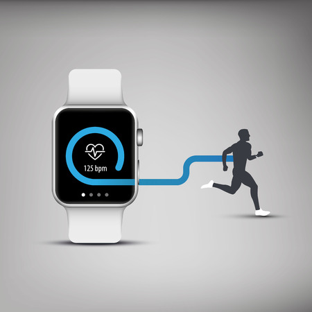 Fitness tracker application for smart watch concept with heart monitor and silhouette of running or jogging person.