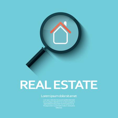 Símbolo dos bens imobiliários de uma casa sob a lupa. Adequado para cartazes, panfletos ou agentes de propaganda e localização.