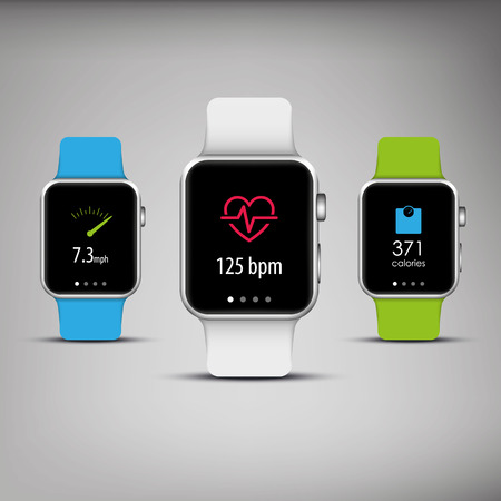 Fitness tracker in elegant design with colorful bands and apps icons for health monitoring, weight loss. Vector