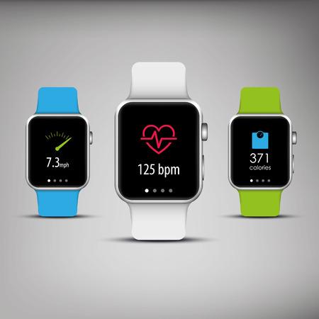 Gimnasio rastreador en un elegante diseño con bandas de colores y iconos de aplicaciones para la vigilancia de la salud, pérdida de peso. Foto de archivo - 36304388