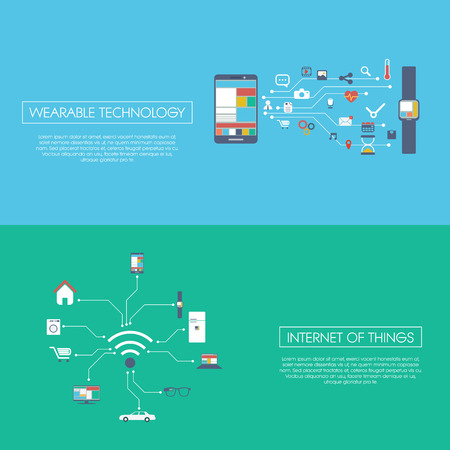 Internet of things concept vector illustration with icons for smart devices in household, technology, communication. Vector