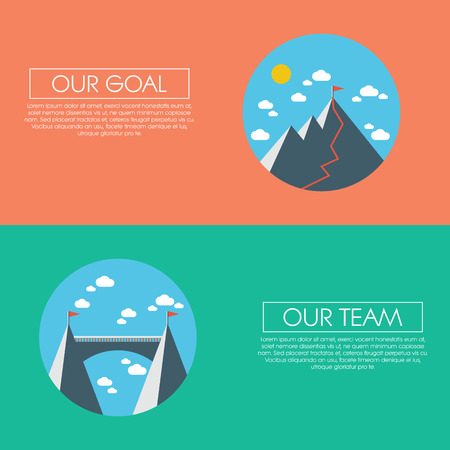 Business man presentation on flipchart with mountain top as success symbol in modern flat design. Simple style cartoon for presentations.