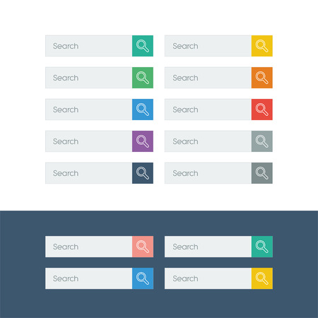 search bar: Set of search flat design icons in colorful bars or icons for graphic user interface on websites, applications, infographic. Illustration