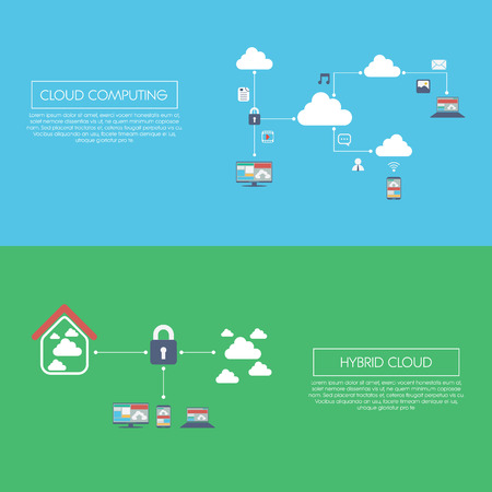 private server: Cloud computing technology and hybrid version concept infographics template with icons. Illustration