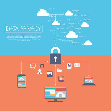 Privacy van gegevens in cloud computing-technologie met digitale apparaten pictogrammen en applicaties voor computers. Stock Illustratie