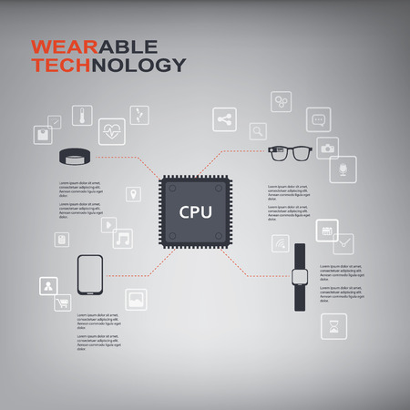 Wearable technology infographics with smart devices, icons and CPU chip.