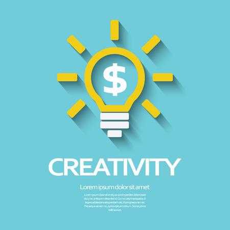 dollar icon: Creativity symbol with light bulb and dollar sign inside. Illustration