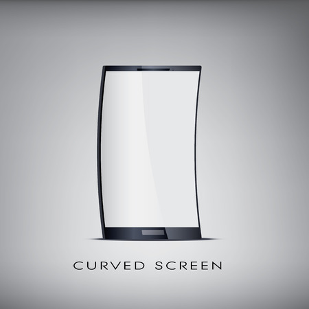 Curved or flexible blank realistic smartphone. Promotional and advertising purposes with space for your text.