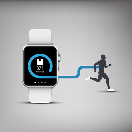 heart rate: Fitness tracker application for smart watch concept with calories burning symbol and silhouette of running or jogging person.