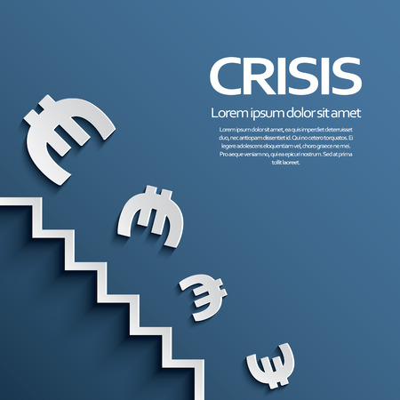dropping: Euro sign falling down the stairs as a symbol of european recession crisis. Illustration