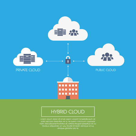cloud: Hybrid cloud computing concept infographics template with icons. Private and public servers.