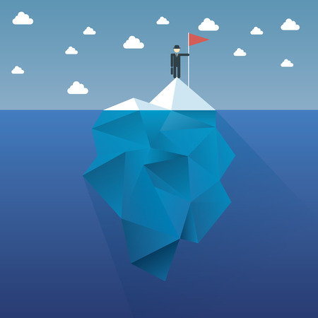 Polygon iceberg concept vector design with infographic menu options as symbol of business risk.