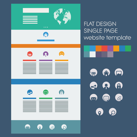 Single page website template, basic icons in circles. Modern flat design with bright, vivid colors. Suitable for phones and tablets.